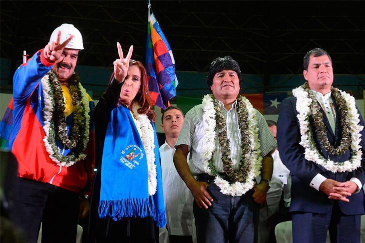 Nicolás Maduro, Cristina Fernández, Evo Morales y Rafael Correa