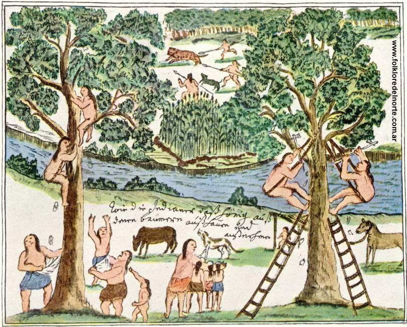 Dibujo de Florián Paucke (1719-1780), misionero jesuita que trabajó principalmente entre los indios mocovíes y pintó las costumbres de la región.