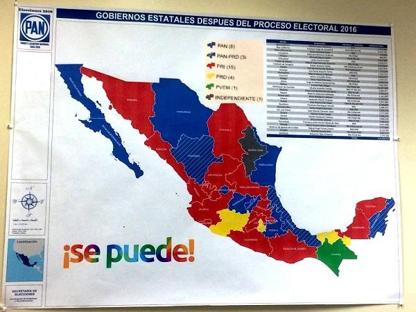 México: mapa de gobiernos estatales luego del proceso electoral de 2016 | Imagen: PAN, Secretaría de Elecciones