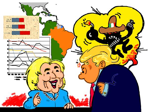 Hillary Clinton y Donald Trump disputan la elección presidencial | Ilustración: Guillermo Tell Aveledo