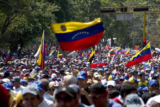 Manifestación opositora en Venezuela