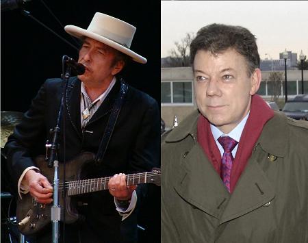 Bob Dylan y Juan Manuel Santos: Premios Nobel de Literatura y de la Paz 2016 | Fuente: wikicommons