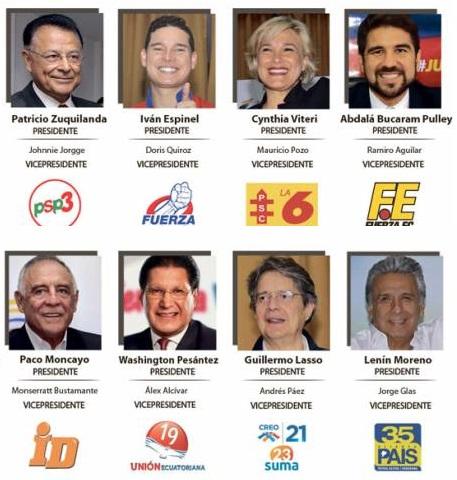 Candidatos presidenciales para las elecciones en Ecuador, 19.2.2017