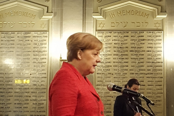 Angela Merkel en el Templo Libertad de Buenos Aires