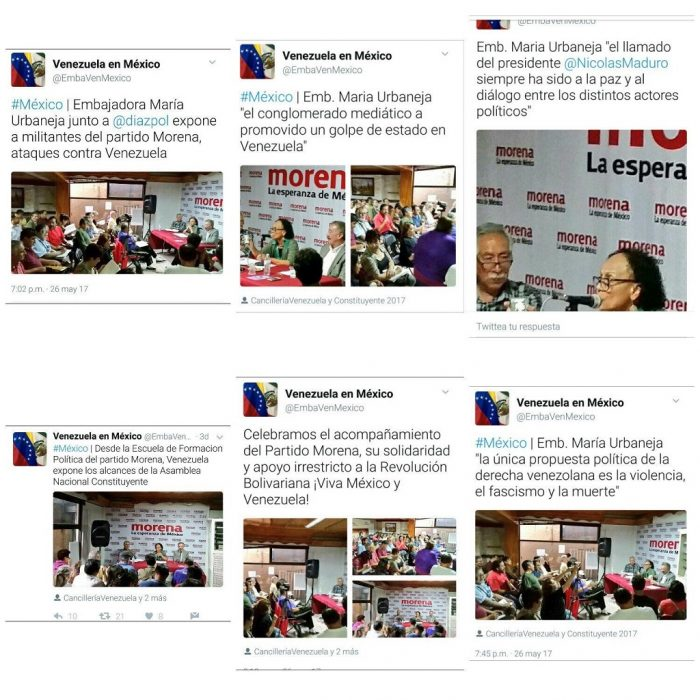 Los mensajes borrados de la cuenta de Twitter de la embajada venezolana en México