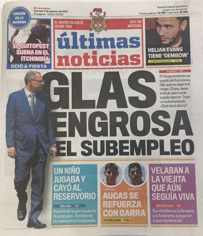 Portada del diario Últimas Noticias, Quito, 4 de agosto de 2017