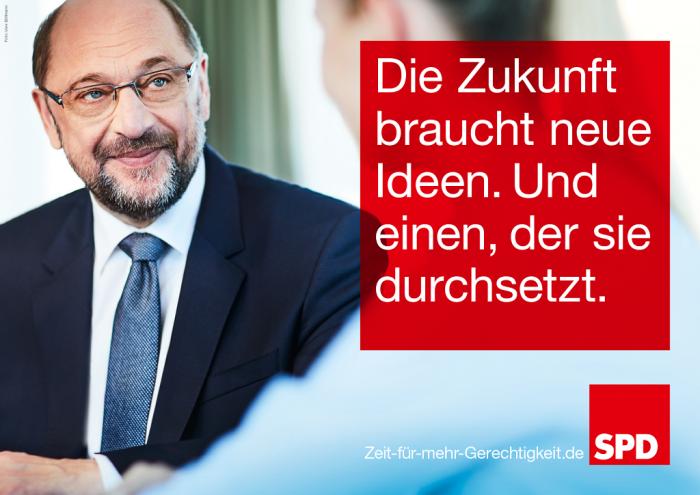 Cartel electoral: «El futuro necesita nuevas ideas. Y alguien que las haga realidad» | Fuente: SPD