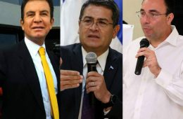 Candidatos presidenciales Salvador Nasralla, Juan Orlando Hernández y Luis Zelaya