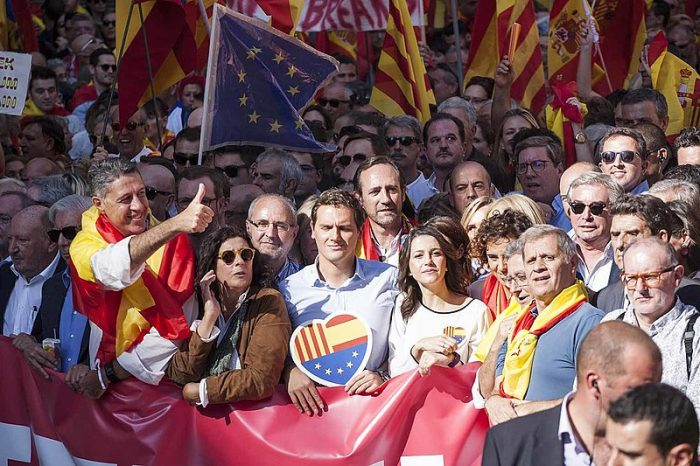 Manifestación multitudinaria en Barcelona reclama la unidad de España, 8 de octubre de 2017 | Foto: Robert Bonet, vía Wikicommons