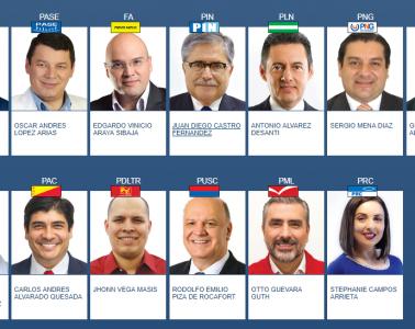Candidatos presidenciales para las elecciones del 4 de febrero de 2018   Fuente: TSE Costa Rica