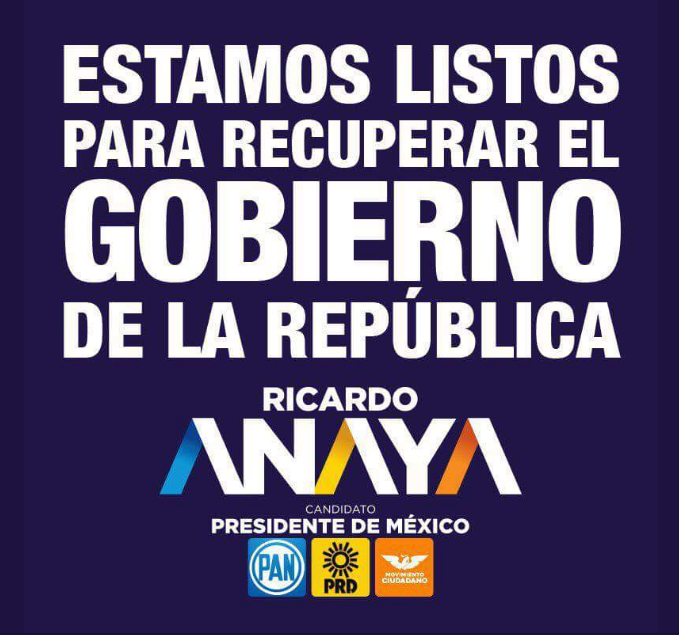 Cartel de campaña de la coalición Por México al Frente