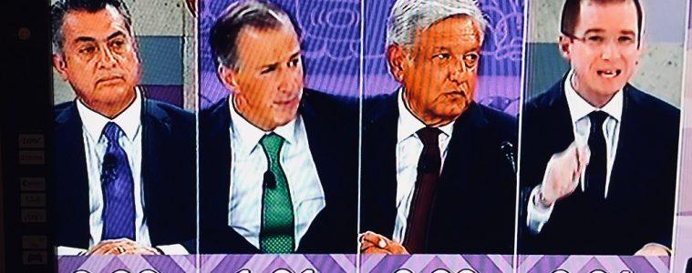 Jaime Rodríguez (independiente), José Antonio Meade (PRI), Andrés López Obrador (Morena) y Ricardo Anaya (PAN), durante el último debate presidencial | Imagen: captura de pantalla de TV