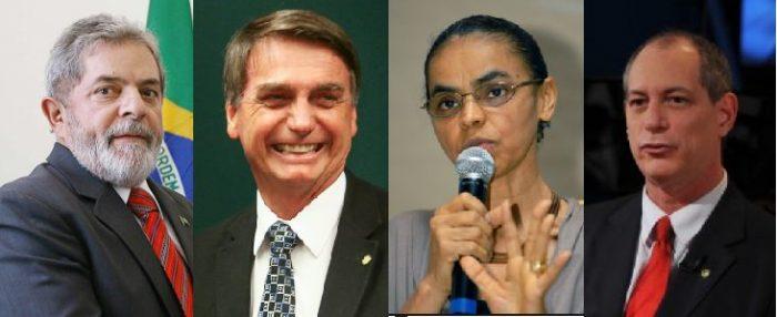 Precandidatos Lula da Silva, Jair Bolsonaro, Marina Silva, Ciro Gomes