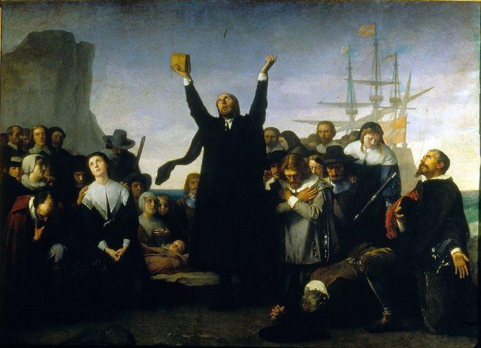 El desembarco de los puritanos. Antonio Gisbert, 1883.