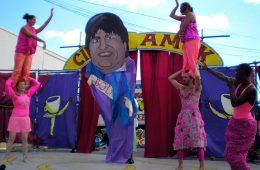 Evo Morales, retratado por el Circus Amok.   Foto: David Shankbone, vía WikiCommons