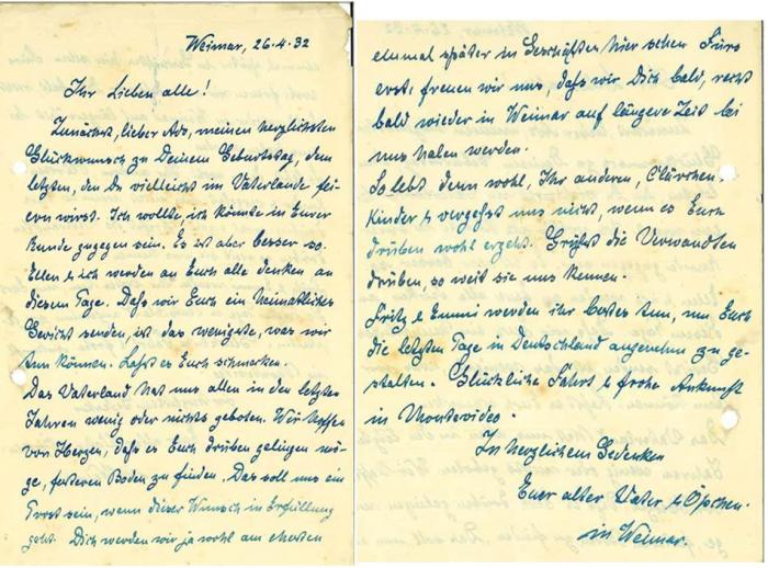 Carta de despedida del abuelo Neitzert en la ciudad de Weimar. Alemania | Foto: Manfred Steffen