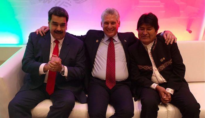 Nicolás Maduro, Miguel Díaz-Canel y Evo Morales, el 1 de diciembre de 2018 en México | Foto: Twitter @DiazCanelB