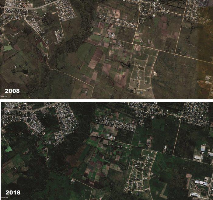 Cambios en el uso del suelo, entre 2008 y 2018, en el area metropolitana de Montevideo. En menos de 2 km de radio conviven el crecimiento de asentamientos (nuevos o expansión de existentes), cercanos a cursos de agua, con barrios privados y enclaves logísticos e industriales. | Fuente: Elaboración propia con imágenes de Google Earth.