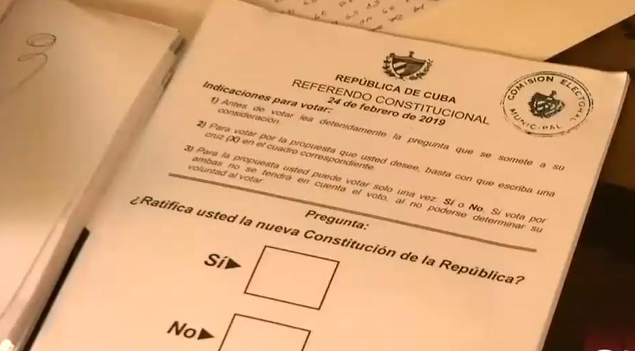 Hoja de votación del referendo constitucional en Cuba, 25.2.2019 | Captura de pantalla