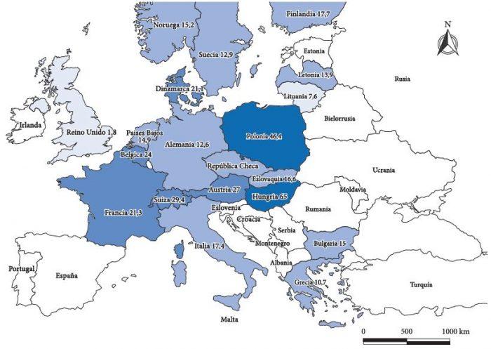 Presencia de la nueva derecha en países de Europa | Fuente: Elaboración propia con base en datos del portal ‹http://www.parties-and-elections.eu›.