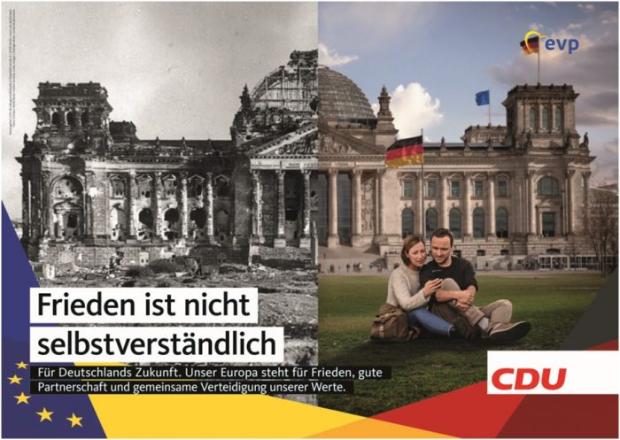 «La paz no se puede dar por hecho». Afiche CDU para las elecciones europeas 2019 | Fuente: bilder.cdu.de.