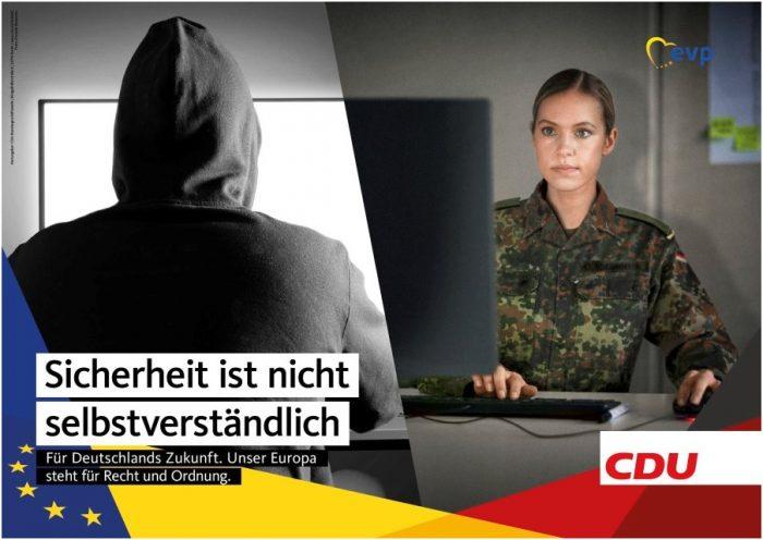 «La seguridad no se puede dar por hecho». Afiche CDU para las elecciones europeas 2019 | Fuente: bilder.cdu.de