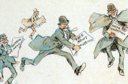 """Reporteros con varias formas de """"noticias falsas"""" de una ilustración de 1894 de Frederick Burr Opper"""