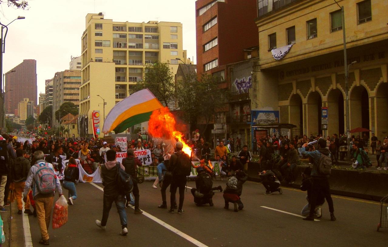 Protesta estudiantil en Bogotá, noviembre de 2019. Foto: José Alejandro Cepeda