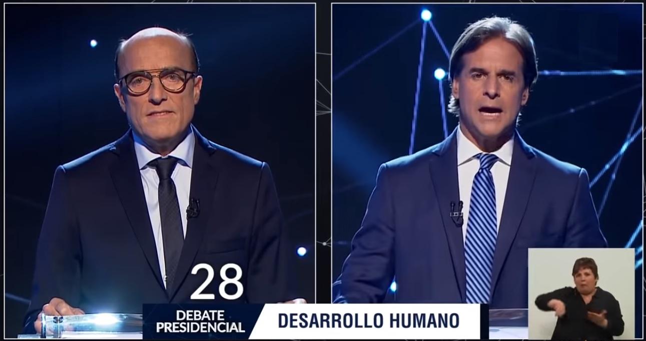 Daniel Martínez y Luis Lacalle, debate presidencial en Uruguay 2019 Foto: Captura de pantalla TV