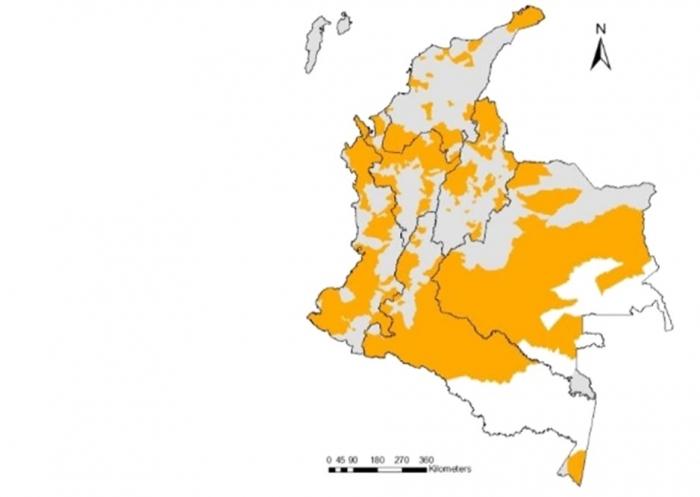Mapa: Confluencia regional de las problemáticas analizadas: conflicto armado, degradación ambiental, pobreza rural y brechas territoriales