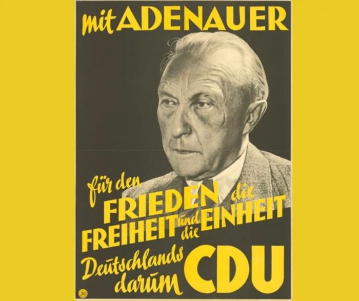 """""""Con Adenauer. Por la paz, la libertad y la unidad de Alemania. Por eso la CDU"""". Campaña en las primeras elecciones federales de septiembre de 1949"""